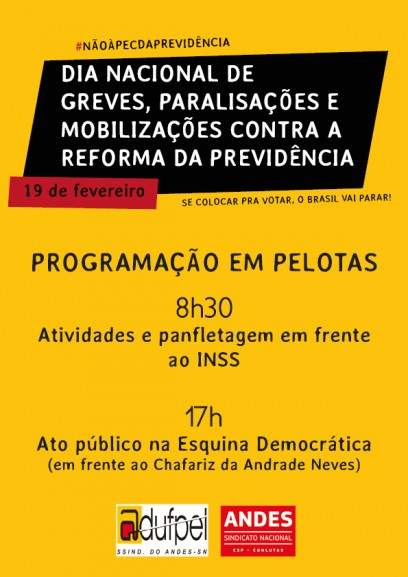 Dia 19 de fevereiro � dia de luta contra a reforma