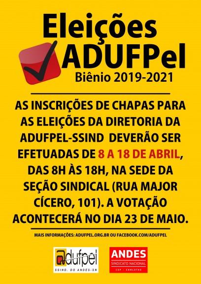 Edital elei��es ADUFPel bi�nio 2019-2021